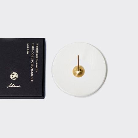 Ume | White Stoneware Incense Dish and Gold Coloured holder Set | Handmade Dish