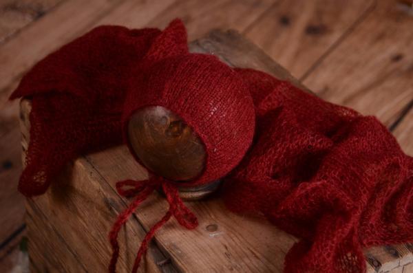 Set Wrap aus Angora mit Mütze in Bourdeaux