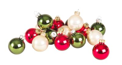 Boîte 16 boules de Noël en verre multicolore