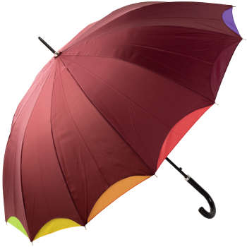 Bright Rainbow - Double Skin Automatic Opening Umbrella - Red