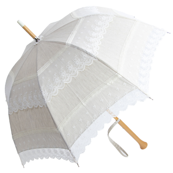 Antoinette - UVP Beige French Embroidered Lace Parasol with Milano Handle by Pierre Vaux
